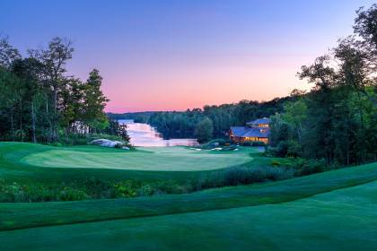 18th hole and clubhouse at dusk, The Ridge at Manitou - Parry Sound ON Canada