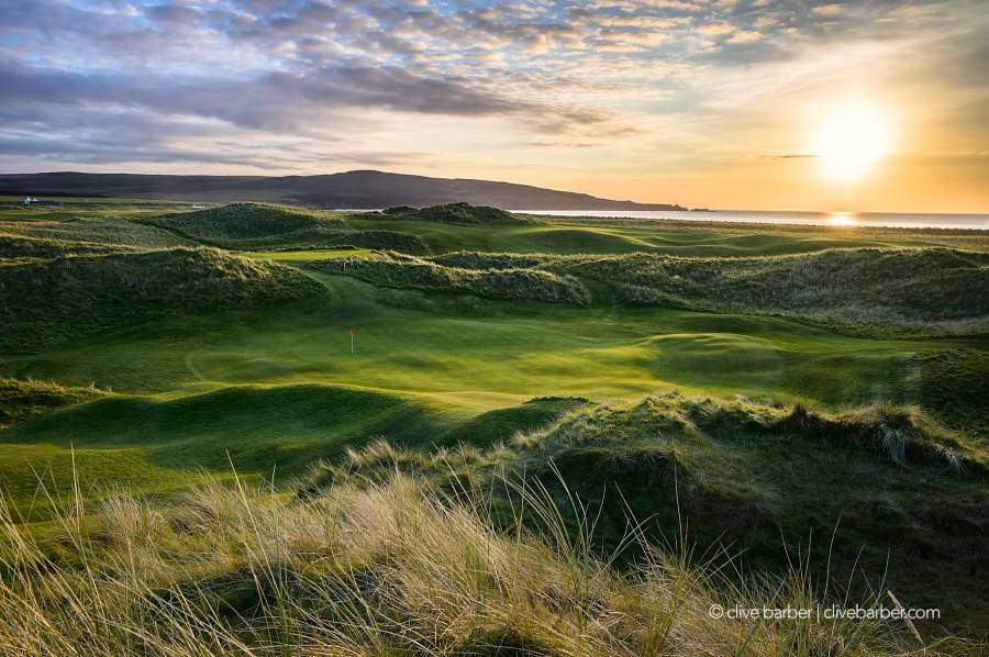 17h green (Ifrinn) at sunset, Machrie Golf Links - Isle of Islay, Scotland