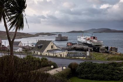 Castlebay harbour and Kisimui Castle - Castlebay, Barra Scotland